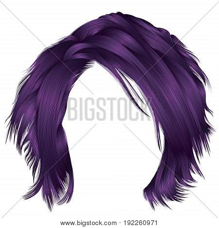 trendy woman disheveled hairs purple colors . beauty fashion . realistic 3d