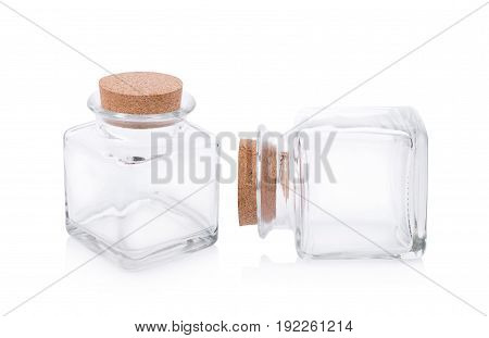 Closeup Glass bottle isolated on white background