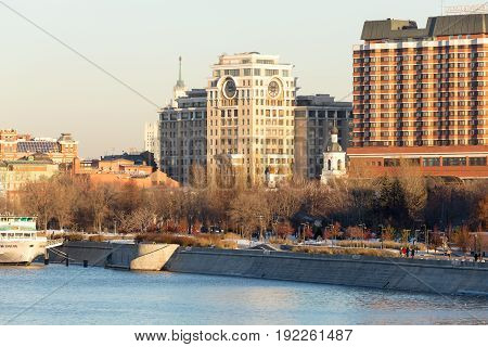Moscow Russia - November 22, 2016: Panorama of one of the central districts of Moscow - Moskva River pleasure boat the Crimean embankment and park