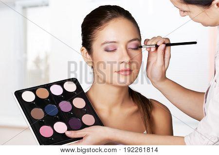 Make make up colorful beautiful bright person studio