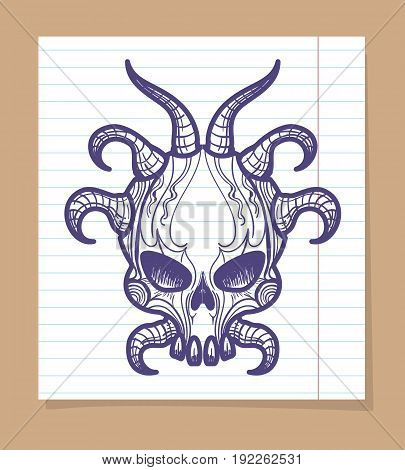 Hand sketched monsters skull with horns on line page, vector illustration
