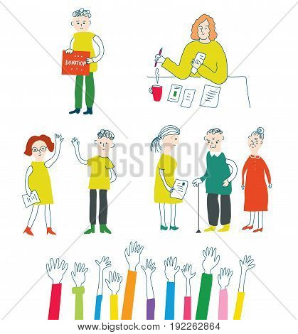 Volunteer and charity set with people vector graphic illustration