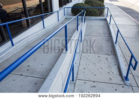 Ramp Way For Support Wheelchair Disabled People.