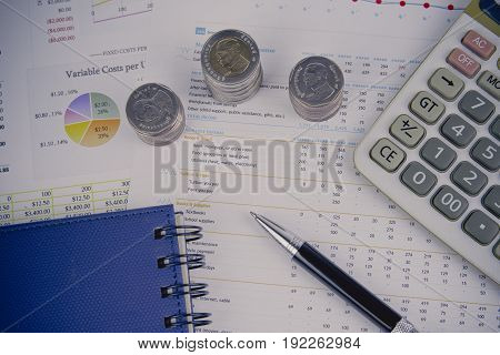Money concept . Money and chart .