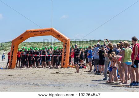 Kijkduin The Hague the Netherlands - 17 June 2017: Kijkduin cross triathlon start line