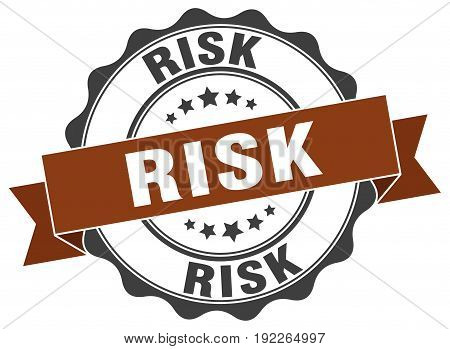 risk. stamp. sign. seal. round. retro. ribbon