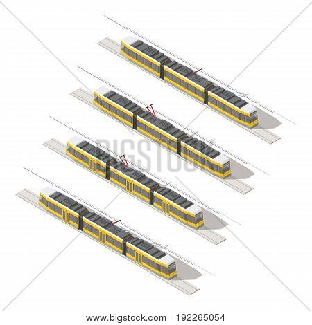 Tramway isometric icon set vector graphic illustration