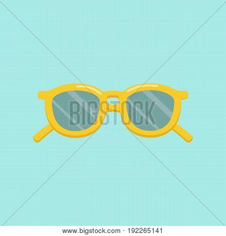 Yellow sunglasses. Sunglasses icon in flat style. Vector stock.