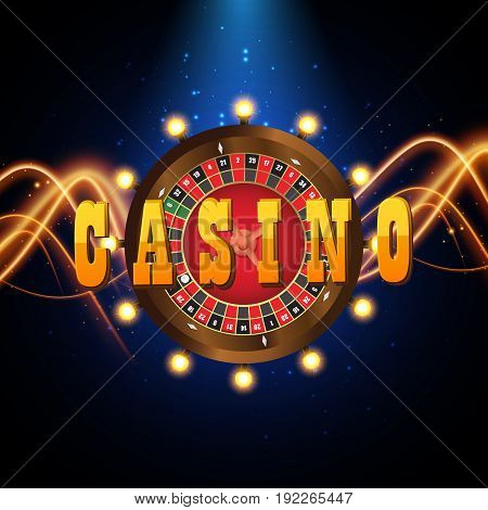 Casino banner in the form of roulette. Vector big billboard for casino. Sign of the winner in the form of a wheel with lamps light bulbs