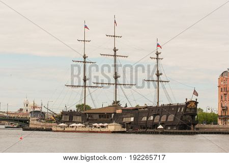 St. Petersburg Russia - 28 May, Sailing vessel The Flying Dutchman at Mytninskaya Embankment, 28 May, 2017. Famous sightseeing places of St. Petersburg for tourists.