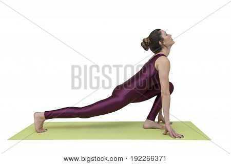 Woman practicing yoga in equestrian position isolated on white