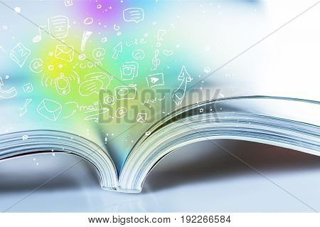 Open big book opened drawn icons table green