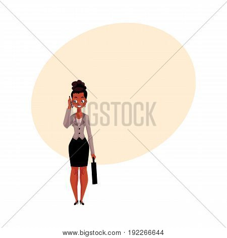 Young black, African American businesswoman with briefcase calling, talking by mobile phone, cartoon vector illustration with space for text. Black businesswoman standing, talking by phone