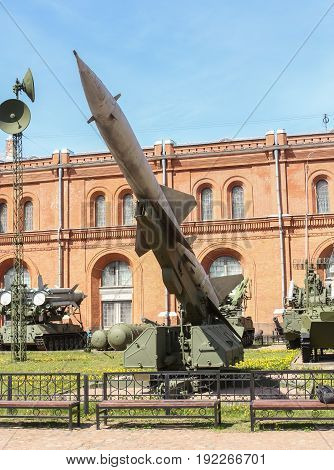 St. Petersburg Russia - 28 May, Anti-aircraft missile on launcher, 28 May, 2017. Military History Museum of combat equipment in St. Petersburg.