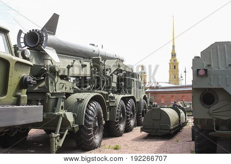 St. Petersburg Russia - 28 May, A transport vehicle with a rocket complex missile Luna-M, 28 May, 2017. Military History Museum of combat equipment in St. Petersburg.