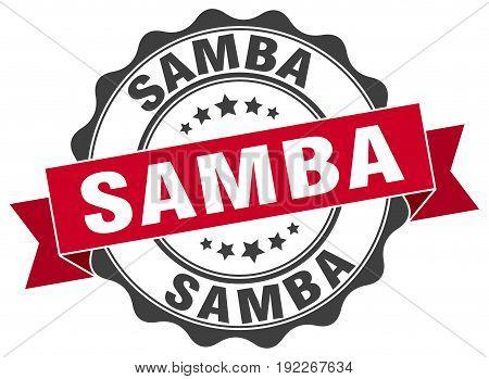 samba. stamp. sign. seal. round. retro. ribbon