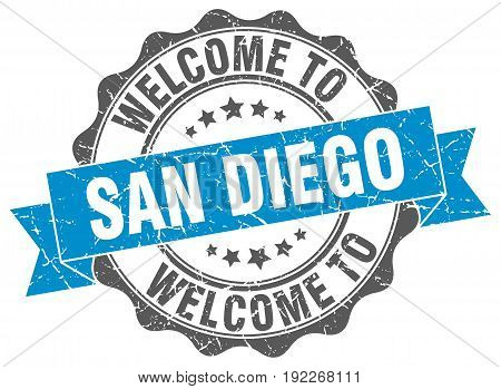 welcome to San Diego. stamp. round ribbon seal
