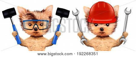 Funny dogs with wrench and hammer isolated on white background. Constructor and handyman concept. 3D illustration