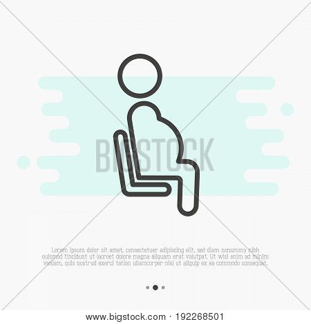 Public sign of priority seat for pregnant woman. Thin line vector illustration.