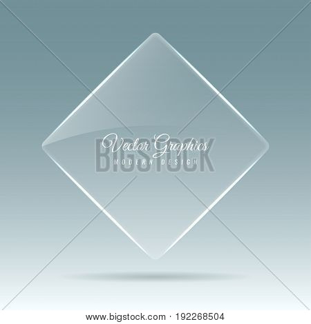 Glass banner. The shape of the rhombus. Transparent billboard with highlights. Vector illustration.