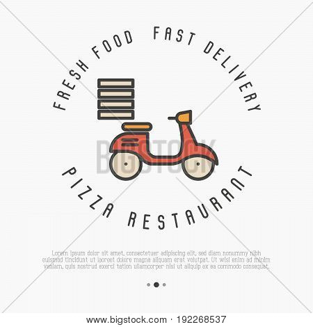 Concept of fast delivery of pizza. Thin line bike for advertisement of restaurant or pizzeria. Vector illustration.