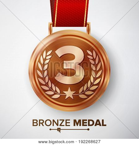 Bronze Medal Vector. Metal Realistic Third Placement Achievement. Round Medal With Red Ribbon, Relief Detail Of Laurel Wreath And Star. Competition Game Bronze Achievement