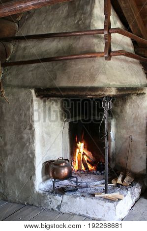 Furnace with open fire Norway Scandinavia Northern Europe