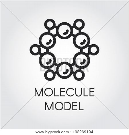 Chemical atomic and molecule model line icon. Label for scientific, chemical, physical, educational and other projects. Vector abstract logo