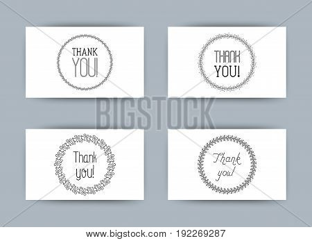 Four different styles for cards Thank you with bubbles, leaves, hearts. Simple minimalistic vector illustration.