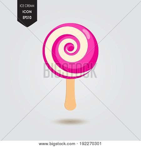 Ice cream lolly. Tasty colorful ice cream. Ice cream lollypop icon isolated. Popsicle candy Vector illustration for web design or print