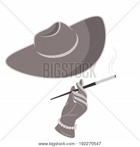 A lady in a hat and gloves smokes a cigarette