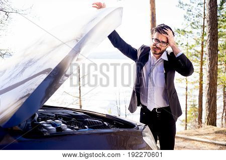 A stressed man had a car accident