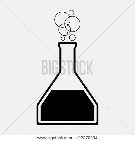 icon flask with chemical of elements the science of chemistry biology fully editable image