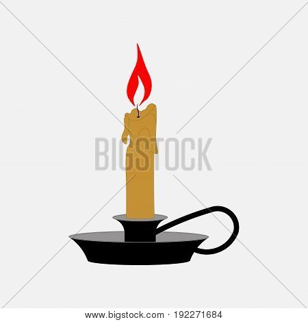 icon candle in a candlestick home lighting fully editable image