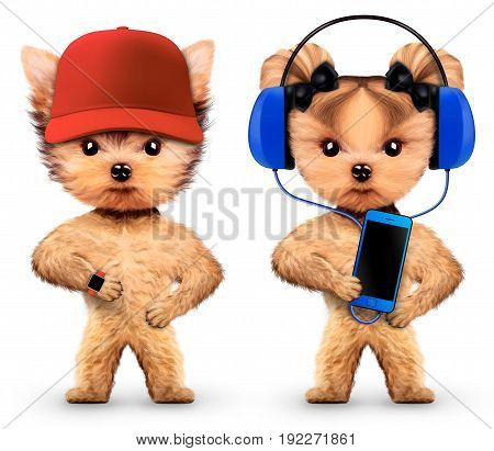 Funny dogs listening to music on headphones on mobile phone and wear baseball cap. Concept of sport and fitness. Realistic 3D illustration.
