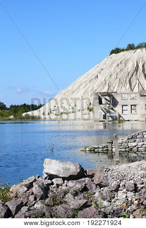 landscape of mounting and lake in summer time