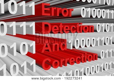 Error detection and correction in the form of binary code, 3D illustration