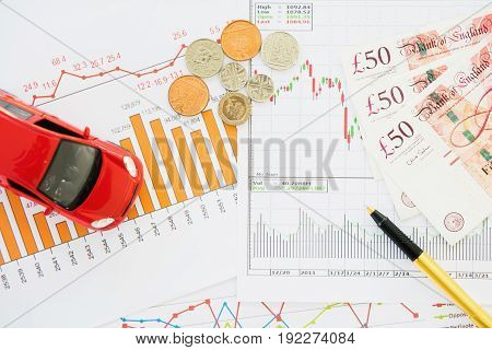 Stock market finance account report, money, bank note, coins
