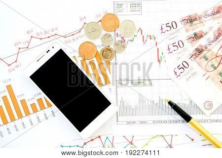 Stock market finance account report, bank note, money