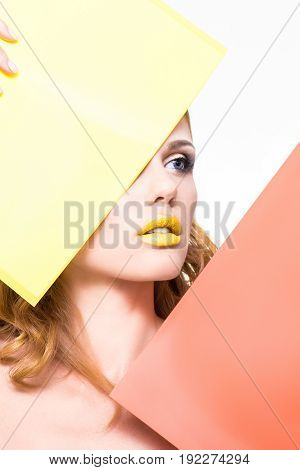 model on a white background with yellow and red plate for ads