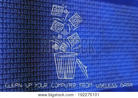 Cubes Of Digital Data Falling Into A Bin And Getting Deleted