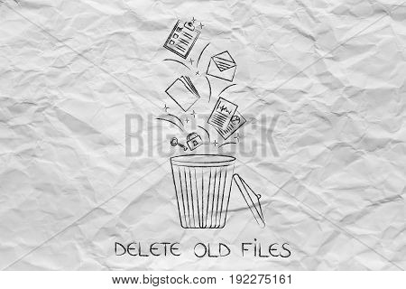 Documents And Files Falling Into A Bin And Getting Deleted