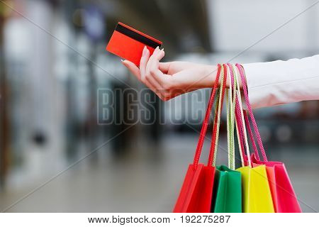 Colorful Shopping Bags And Credit Card