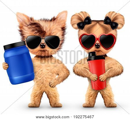 Funny dogs holding shaker and sport nutrition. Concept of sport and fitness food. Realistic 3D illustration.