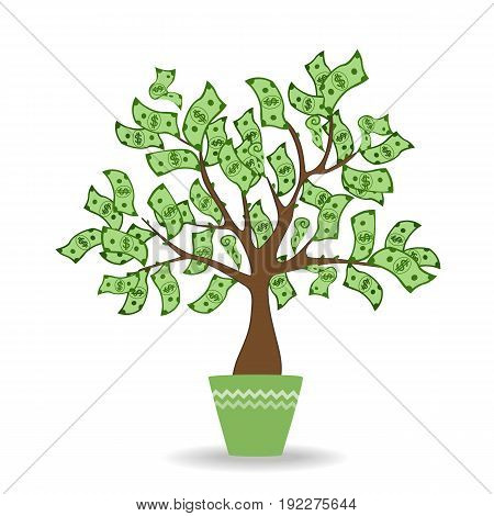Money tree in green ceramic pot. Green cash banknotes tree. . Vector illustration. Profit, income, and investment concept