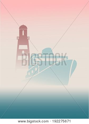 Large transoceanic cruise ship and lighthouse silhouettes. Travel company business card design