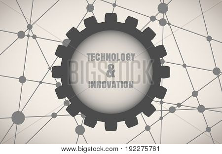 Molecule And Communication Background. Modern brochure or report design template. Technology and innovation text in gear. Connected lines with dots. Medical, technology, chemistry, science background