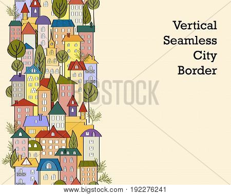 Seamless vertical banner background with rows of colorful cartoon houses. Vector Illustration