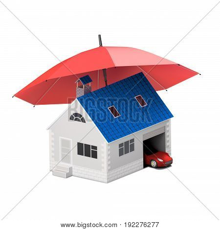 Insurance home house life car protection. Buying house and car for family icon. Protect people Concepts. 3D illustration. Icon for the web site of the bank. Red car under red umbrella.