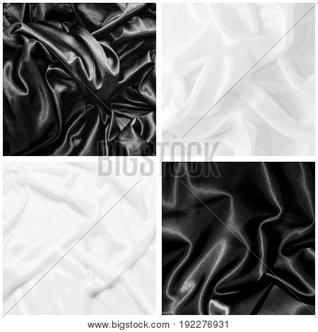A Set Of Textures Of Black And White Silk